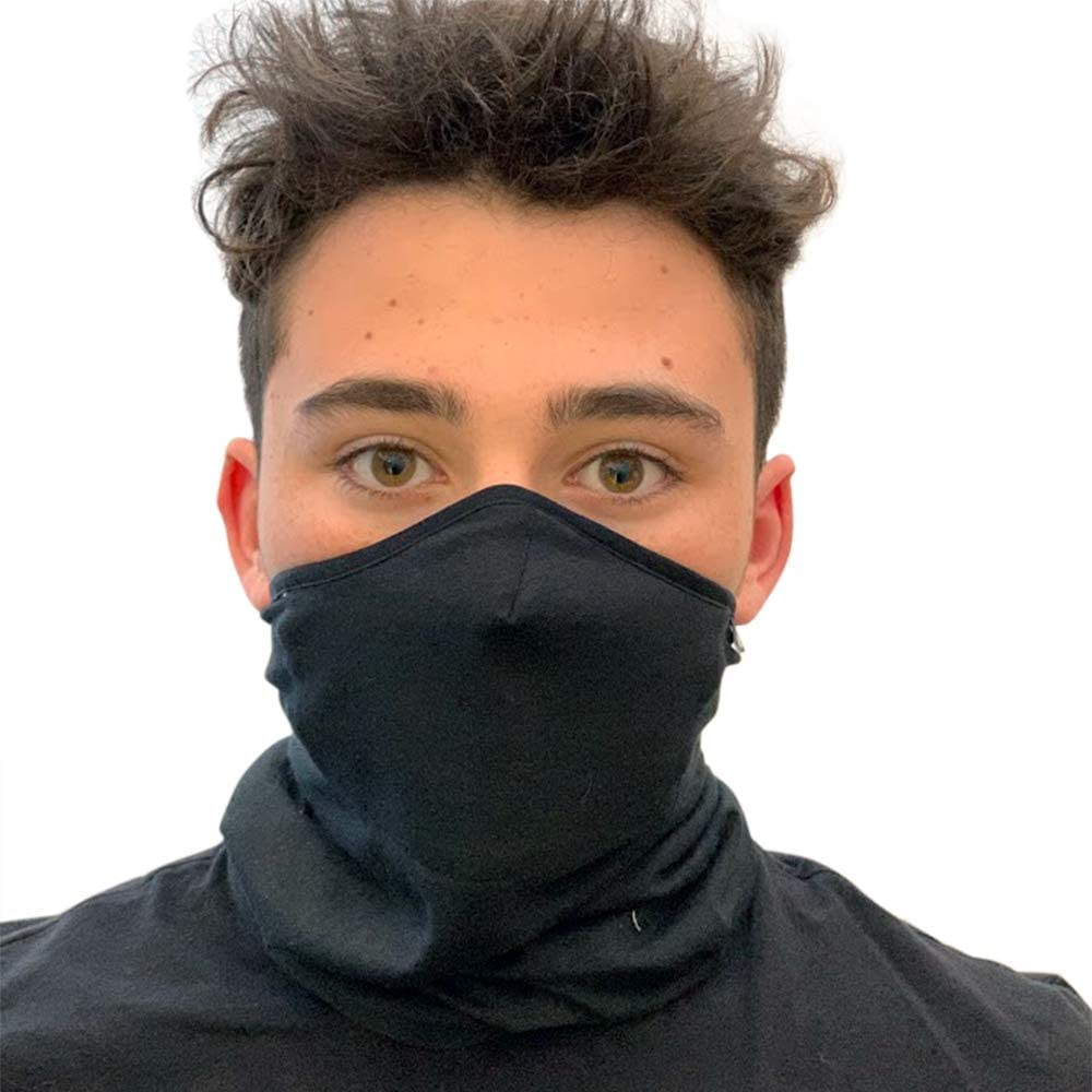 Haberdashery Online Winter Neck Gaiter, Sports Tube Scarf, Cover for Running, Skiing and Snowboarding in Cold Weather. Includes UNE 0065: 2020 mask. Junior Size. Black