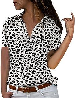 Lloopyting Camisa de Manga Corta con Cuello en V para Mujer, Estilo Hawaiano, Manga Larga, a Cuadros, Entallada, con Botones