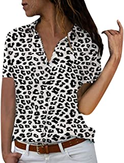 Benficial Women Plus Size Loose Print V-Neck Short Sleeve Print Blouse Pullover Tops Shirt