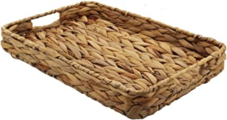 YR home Decorative Tray Water Hyacinth Storage Basket Rectangle Seagrass Storage Basket for Fruit or Tea (M)