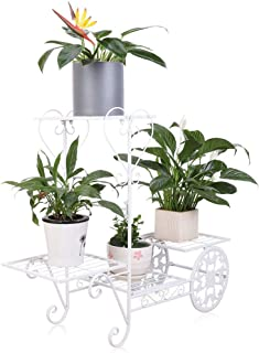 Garden Cart Plant Stand Iron Flower Pot Rack Holder with 4 Tier Shelves Holds up to 77lbs, White