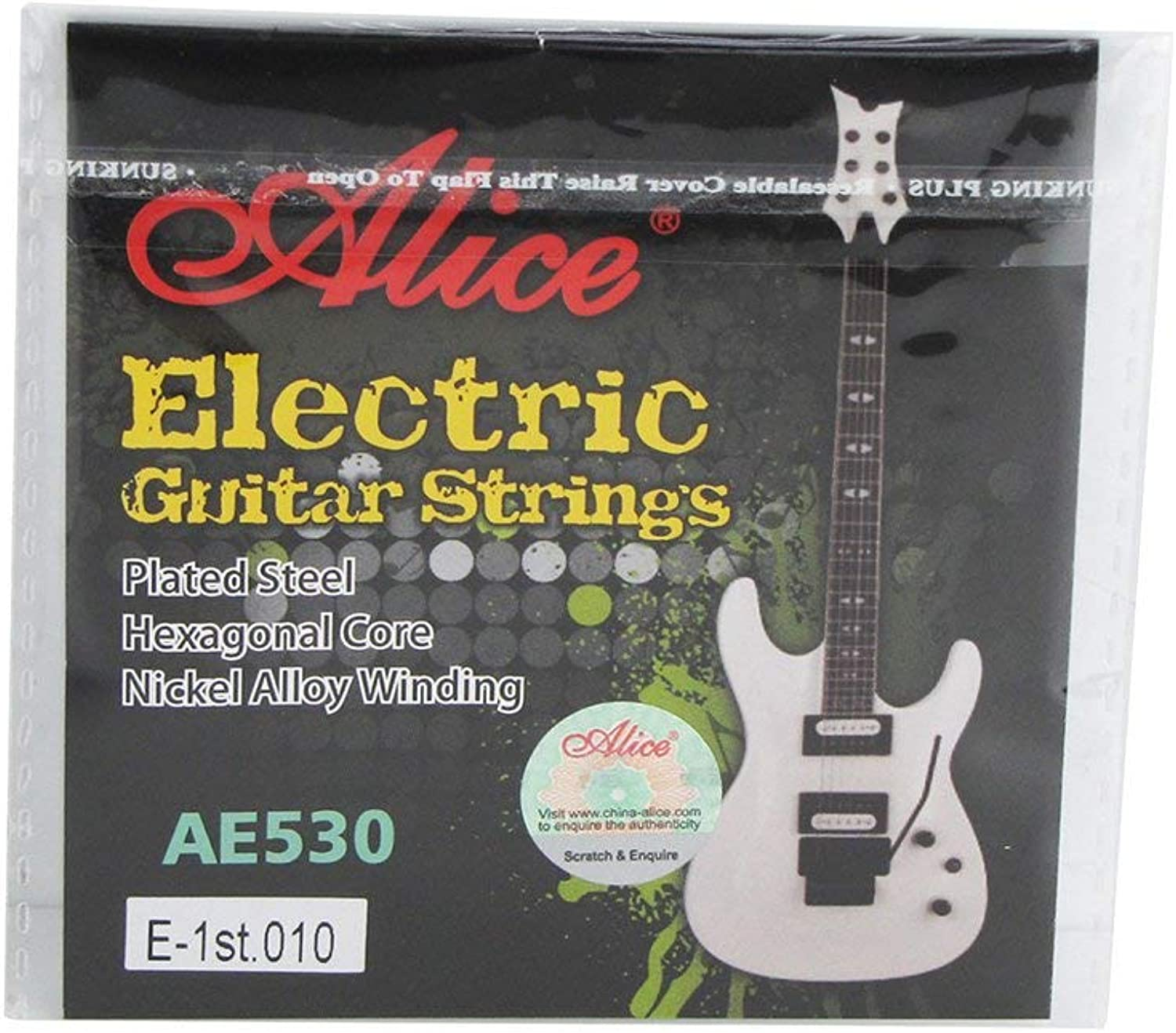 Alice EString .010'' 0.25mm Extra Light Electric Guitar Steel Strings with golden Ball End