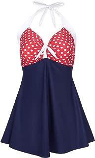 HDE Women's One Piece Swimdress Plus Size Tummy Control Boy Short Retro Swimsuit
