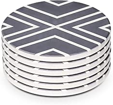 LIFVER 6 Pieces Ceramic Drink Coasters, Absorbent Stone Coaster Set, White Lines
