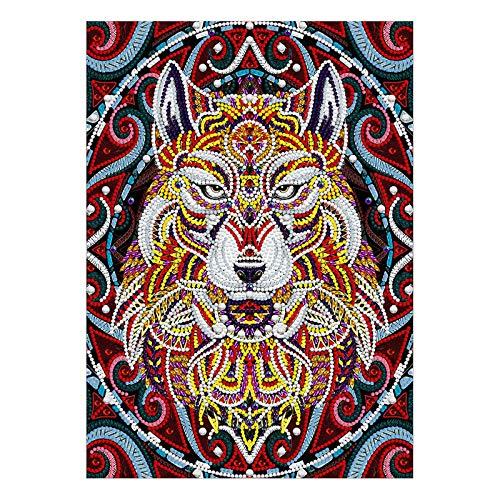 Janly Clearance Sale Pintura de diamantes, 5D luminosa con diseño creativo de cabeza de lobo serie 30 x 40 cm, para decoración de Navidad, hogar y jardín, (multicolor)