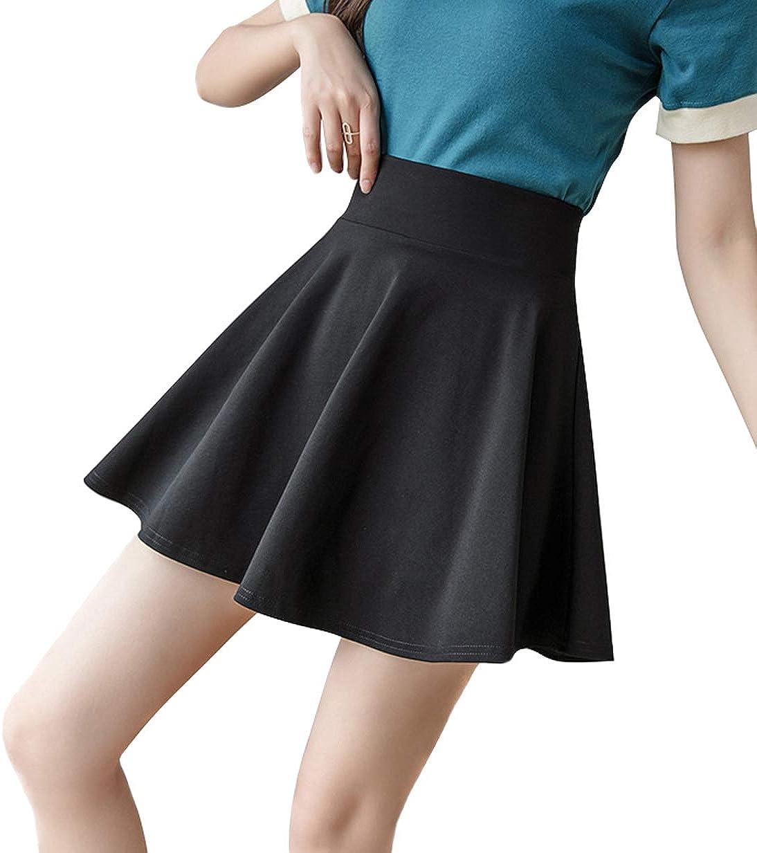Mandy Luv Women's Elastic Waist Basic Versatile Stretchy Flared Pleated Casual Skater Mini Skirt
