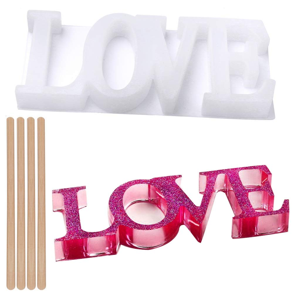 BUSOHA Family Mold,Resin Word Sign Molds with 3 Fairy Lights,Silicone Epoxy Resin Casting Molds for DIY Table Decoration,Create Your Romantic Resin Dream as Ideal Gift