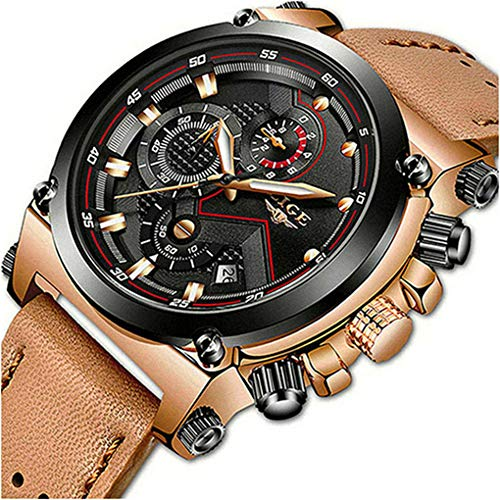 LIGE Men's Fashion Sport Quartz Watch with Brown Leather Strap Chronograph Waterproof Auto Date Analog Black Men Wrist Watches