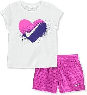 NIKE Girls 2 Piece Short Sleeve Shirt & Shorts Set Outfit Size - White, Magenta Size 6X