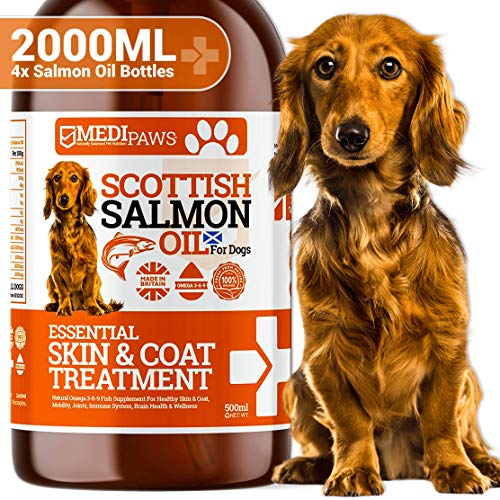 Medipaws Scottish Pure Salmon Oil For Dogs, Cats & Pets | 100% Pure Premium Food Grade | Natural Fish Supplement | Omega 3-6-9 | Promotes Healthy Skin & Coat, Joint & Overall Health | 2000ml