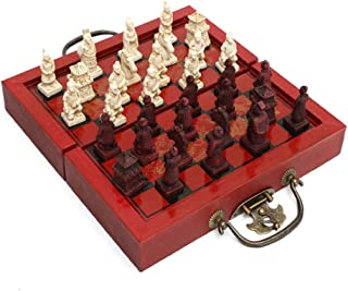 Checker Set Terracotta Warriors International Chess, Figure Chess With Wooden Board, Portable Board Game, Traditional Tact...