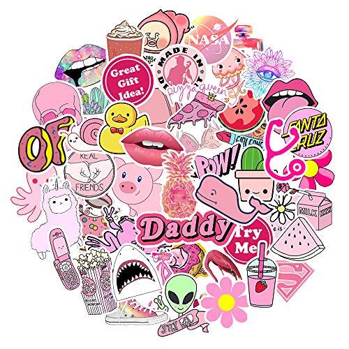 Pink Cute VSCO Aufkleber für Wasserflaschen wasserdichte ästhetische Trendige Aufkleber für Jugendliche Kinder Mädchen und Jungen 100% Vinyl(50 Stück )