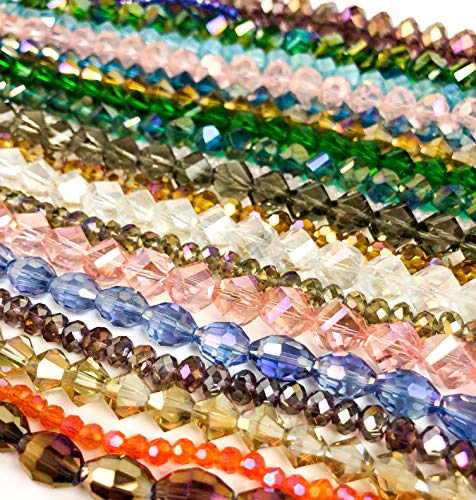 Concept Art Iridescent Glass Beads, Handcrafted Beads for Jewelry Making, 20 Assortments