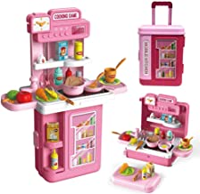 Kids Kitchen Toy Set,3 in1 Realistic Lights & Sounds,Pretend Play Kitchen Toy,with 41pcs Food and Kitchen Accessories,Play...
