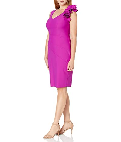 Alex Evenings Slimming Long Side Ruched Dress With Cascade Ruffle Skirt