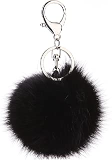Cute Rabbit Fur Ball Pom Pom Keychain Cityelf Car Key Ring Handbag Tote Bag Pendant Purse Charm