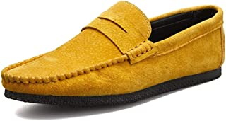 Ying-xinguang Shoes Fashion Penny Loafer for Men Boat Moccasins Pigskin Leather Solid Color Soft Casual Business Lightweight Low Top Breathable Comfortable