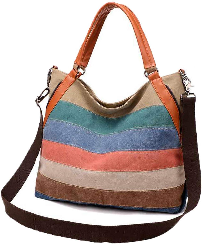 Frau Messenger Bags Fashion Fashion Fashion Designer Handtaschen Damen Canvas Patchwork Casual Shopping Schulter Umhängetasche Multi B07H82CNY3  Einfaches Leben 09128f