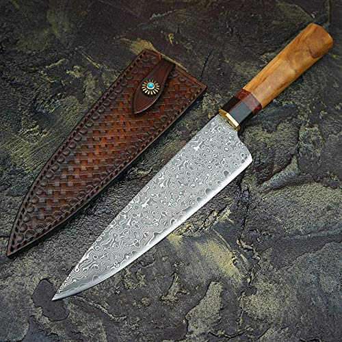 Best Quality Kitchen Knives Damascus Steel Chef's Knife Japanese Santoku Knives Olive Wood Handle Kitchen Cooking Tools With Handmade Leather Sheath