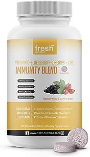Tasty Chewable Blend of Vitamin C 1500mg, Elderberry 600mg, Rose Hips 600mg and Zinc 30mg Per Serving/ Per Day - Vegan Fri...