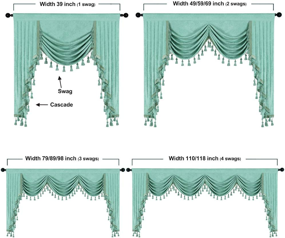 W79inch, 1 Panel Thick Chenille Window Curtains Valance for Living Room Aqua Green Waterfall Valance for Bedroom,Rod Pocket