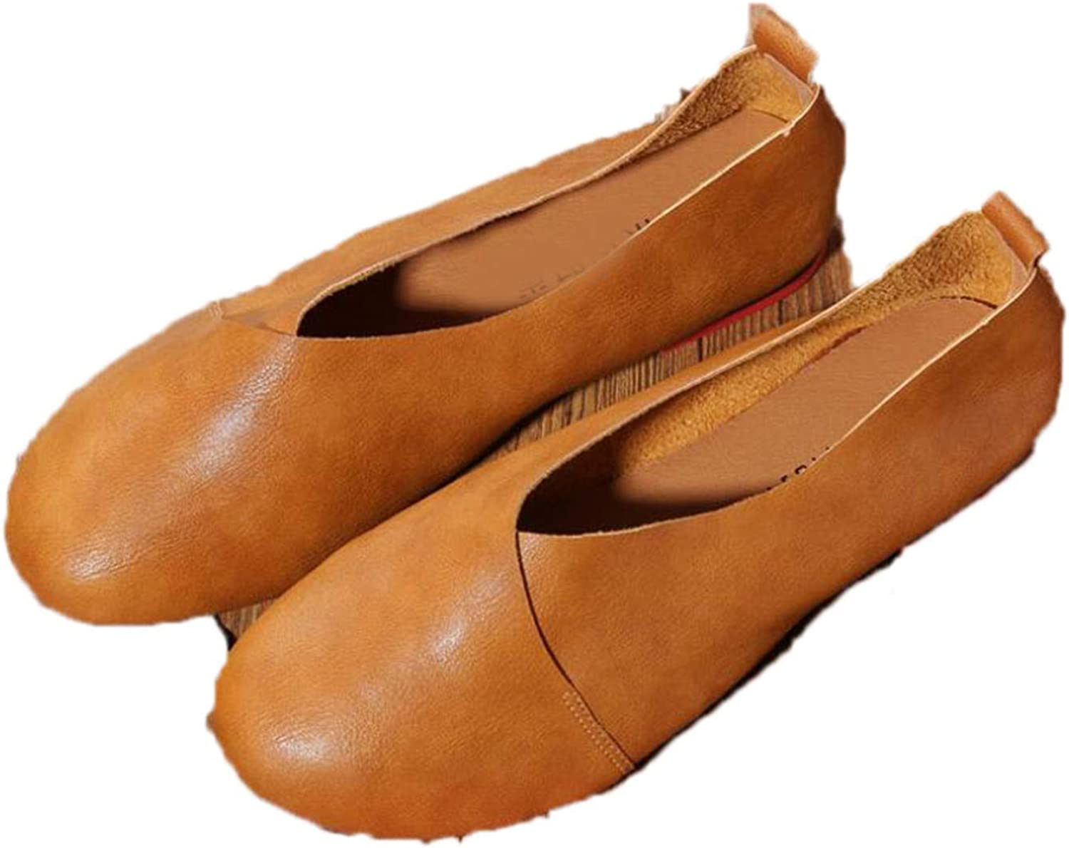 Light Plus Size Genuine Leather Flat shoes Woman Handmade Leather Loafers Flexible Spring Casual shoes Woman Fl