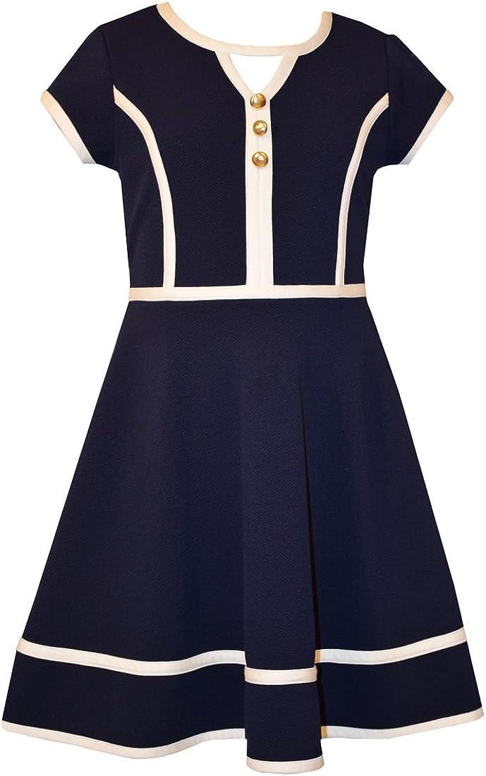 Bonnie Jean Girls Solid Textured Knit Nautical Dress, Navy, 7-16