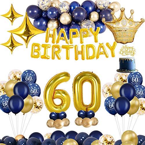 MMTX Decoraciones de cumpleaños, Oro Azul, decoración de Fiesta, decoración para Tartas, Pancarta de Feliz cumpleaños, Globos de Aluminio (60)
