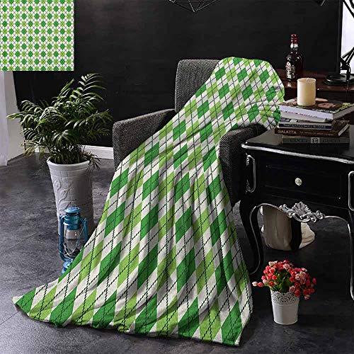 ZSUO bont deken klassieke Argyle Diamond Line patroon met Crosswise lijnen oude Fashioned lichtgewicht microvezel, alle seizoen voor bank of bed