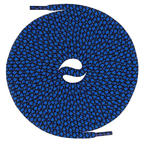 Mount Swiss runde Premium-Schnürsenkel für Arbeitsschuhe Wanderschuhe und Trekkingschuhe - 100% Polyester - extrem reißfest - ø 5 mm - Farbe Blau-Schwarz Länge 120cm