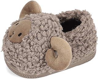 LACOFIA Zapatillas de Estar por casa de Peluche para niños Pantuflas de Oveja cálidas de Invierno Antideslizantes para niñito