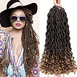 Curly Faux Locs Crochet Hair Deep Wave Braiding Hair With Curly Ends Crochet Goddess Locs Synthetic Braids Hair…