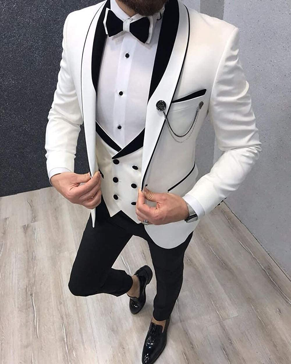 Aesido Men's Casual Suits Slim Fit 3 Piece Prom Tuxedos Shawl Lapel Double Breasted Vest Blazer Pants Grooms Wedding Party