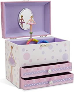 (White and Purple) - JewelKeeper White and Purple Ballerina Musical Jewellery Box with 2 Pullout Drawers, Swan Lake Tune