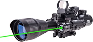 Pinty Rifle Scope 4-12x50 Rangefinder Illuminated Optics with 4 Reticle Red Green Reflex Sight, Green Dot Laser Sight