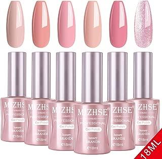 MIZHSE Gel Nail Polish Set- 18ml 6 Bottles Trendy Pink Soak Off Nail Gel Polish Manicure Series Glamour Goddess UV LED Lamp Required with Gift Box Big Capacity