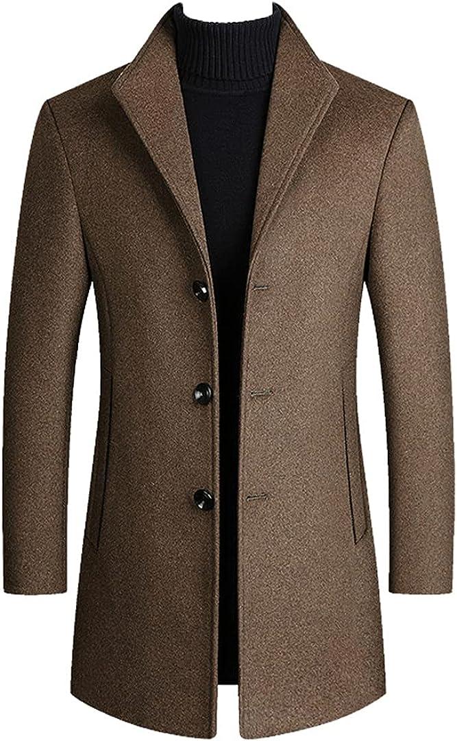 Men Wool Blends Coats Autumn Winter Solid Men's Wool Jacket Smart Coats Luxurious Clothing