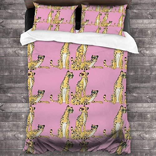 Juego de ropa de cama de 3 piezas de 218 x 177 cm, diseño de guepardos en gafas, juego de ropa de cama portátil y colecciones con 2 fundas de almohada cuadradas clásicas para dormitorio de niñas