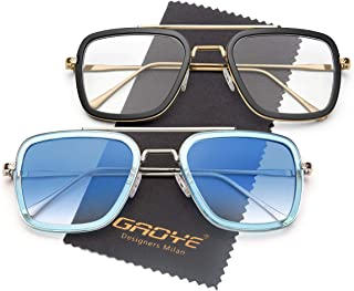 2 Pack Retro Aviator Square Blue Light Blocking Computer Glasses/Sunglasses Goggle Gradient Flat Lens Hero - GY5011