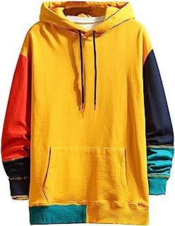 Men Hoodies Sweatshirt Coat, Male Color Patchwork Long Sleeve Pocket Splicing Pullover Outwear