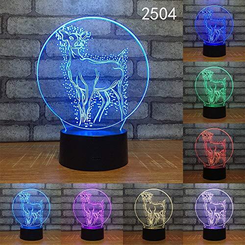 jiushixw 3D acryl nachtlampje met afstandsbediening kleur tafellamp dier olifant slang tijger wolf architectuurlamp ochtendschemering