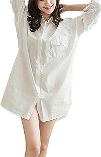 【アズスカイ】Assky シャツワンピース パジャマ ネグリジェ スタイリッシュ ルームウェア ロングシャツ 純色 開襟 長袖 ナチュラル セクシー ゆったり 前開き 綿 ワンサイズ