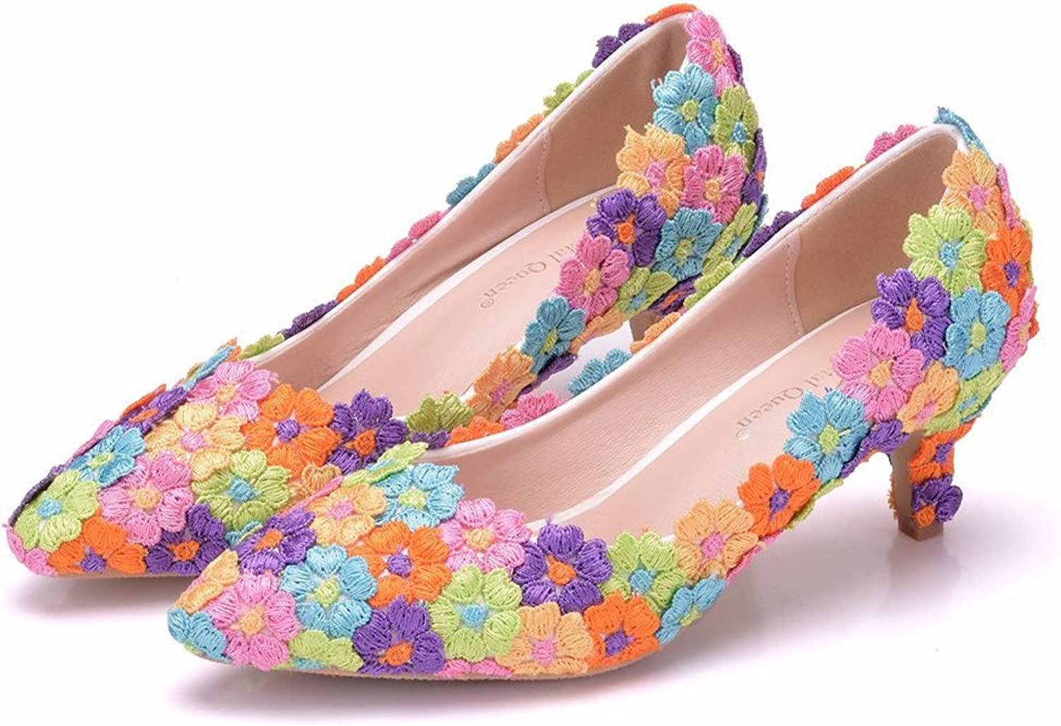 SUNNY Store Women Low Heel Comfort Closed Toe Flowers Lace Bridal Wedding shoes