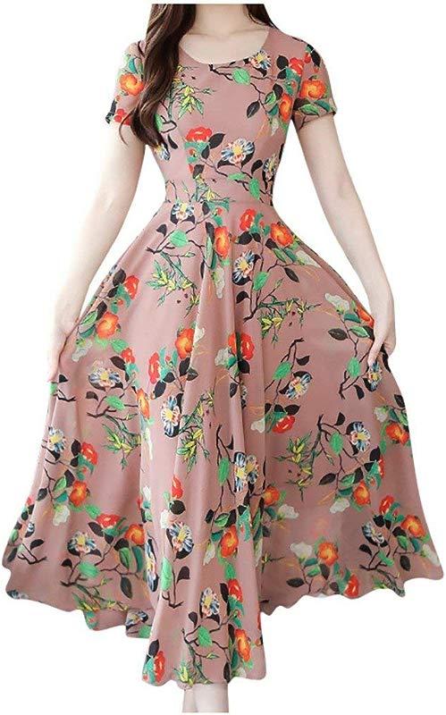 Jin Co Maxi Dresses For Women Summer Short Sleeve O Neck Floral Printed Beach Sundress Long Dress