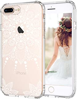 MOSNOVO iPhone 8 Plus Case, iPhone 8 Plus Clear Case, White Henna Mandala Floral Lace Clear Design Printed Hard with TPU Bumper Protective Back Case Cover for iPhone 8 Plus (2017)