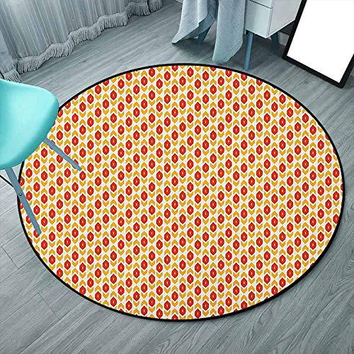 Area Rug - Tappeto rotondo reversibile in iuta e T/C, tessuto a mano, per soggiorno, camera da letto, colore: blu, beige, bianco, Ikat, motivi geometrici astratti 6'3'-Round Stile: 05