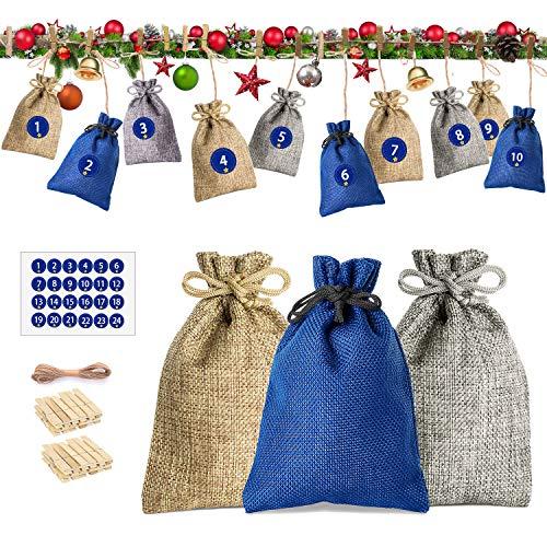 Telgoner Adventskalender zum Befüllen 2020, 24 Stück Säckchen Weihnachtskalender Stoffsäckchen mit 1-24 Adventszahlen Aufkleber Geschenksäckchen für Kinder Erwachsene (Grau/Beige/Blau)