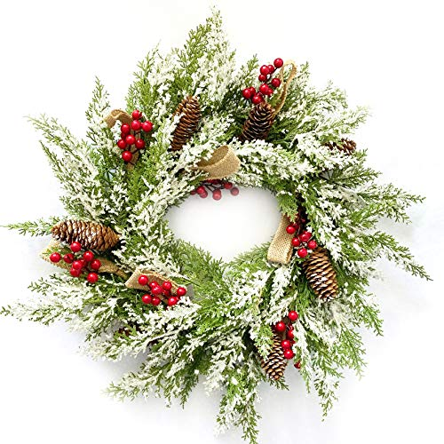 """10Leccion 23"""" Artificial Christmas Wreath for Front Door with Pine Cone, Red Berries, Burlap Ribbon & Snowflake, Indoor Outdoor Holiday Wall Wreath Flocked with Mixed Decorations."""