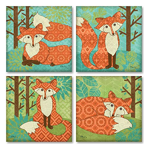 Adorable, Colorful, Cute Fantasy Fox Set - Four 12 x 12 Paper Poster Prints