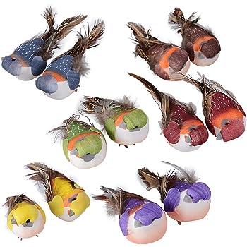 MEJOSER 12 pcs Pájaros Decorativos Plumas Coloridos de Espuma Pájaros Artificiales Adorno árbol de Navidad para Jardín Manualidad Fiesta Ventana Regalo: Amazon.es: Hogar